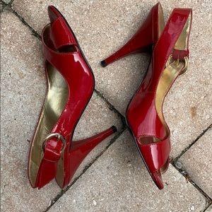 BCBGirls Red Open Toe Pumps